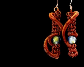 Alpha Lupi Glass and Copper Earrings