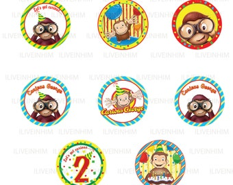 Curious George printable cupcake toppers