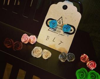 Handmade Clay Rose Post Earrings