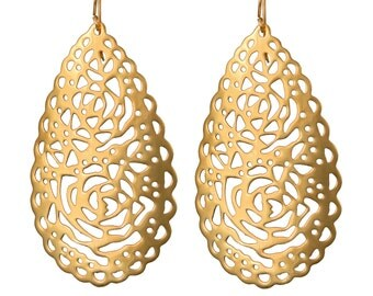 Goldplated Silver Earrings - Lace