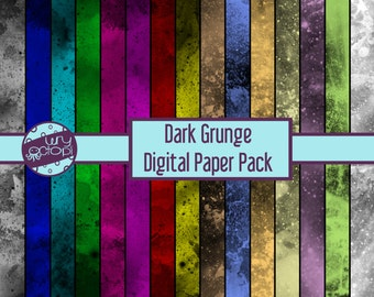 Dark Grunge Digital Paper Pack - Printable Paper - Scrapbook Paper - Instant Download