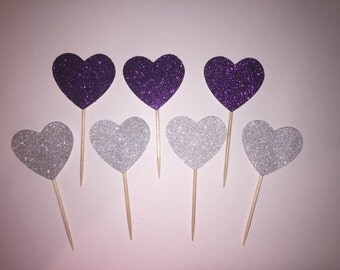 12 Heart Cupcake Toppers, Wedding or Birthday Party Decorations