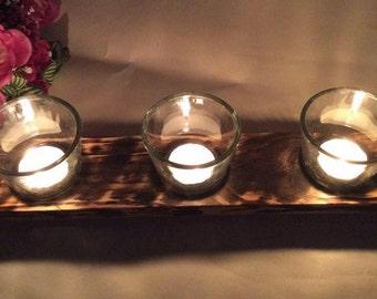 Candle Holder, Tea Light Holder, Rustic Tea Light Holder, Reclaimed Wood Tea Light Holder, Handmade Tea Light Holder, Tea Light Glasses