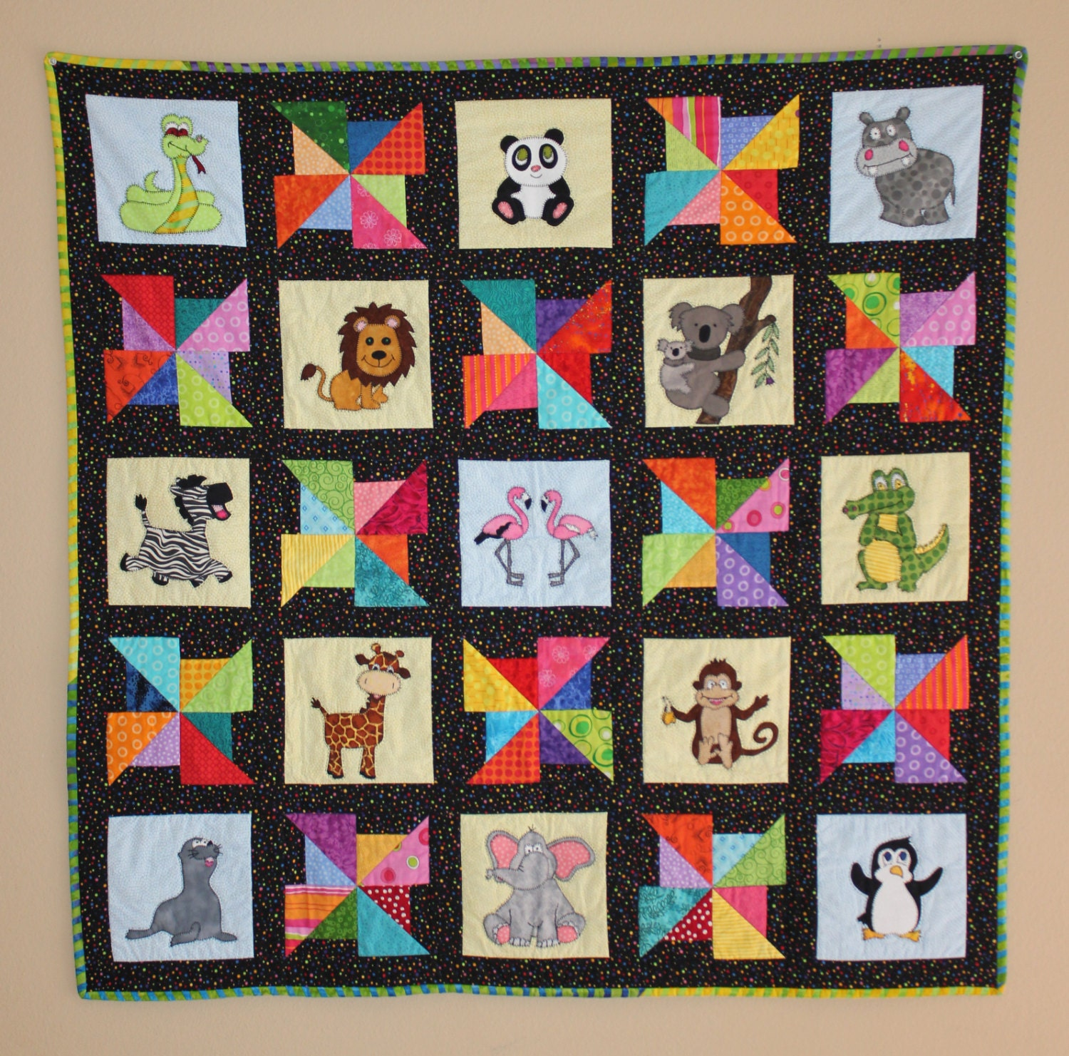 Zoo Animal Applique Pdf Quilt Pattern Whimsical Modern
