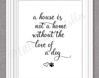 Printable dog quote,  a house is not a home without the love of a dog, I love my dog, home decor, paw print and heart, gift for dog lover