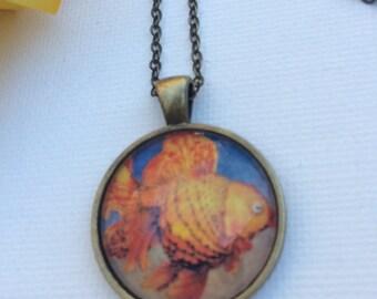 Japanese goldfish pendant necklace