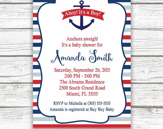 Anchor Baby Shower Invitation, Nautical Baby Shower Invitation, Nautical Invitation, Ahoy It's a Boy, Printable Baby Shower Invite
