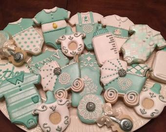 2 doz. Baby Boy Shower Cookies