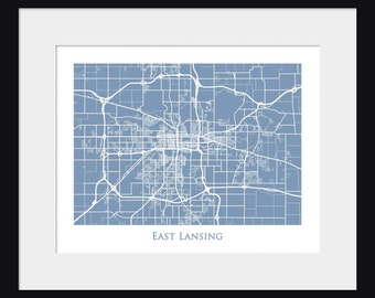 East Lansing Map - Map of East Lansing - Michigan State University - Poster - Print - Spartans