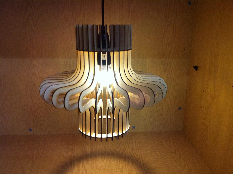 Ripple Design Laser Cut Wooden Hanging Lamp Shade