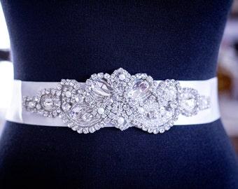 Sale - Bridal Sash, Wedding Dress Sash, Belt, Rhinestone and Pearl White Wedding Sash, White Rhinestone Bridal Sash