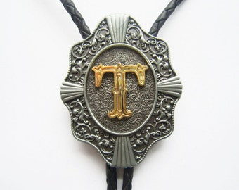 """Initial Letter """"T"""" Western Cowboy Rodeo Bolo Tie"""