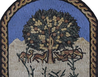 Famous Tree Of Life Blue Sky Mural Decoration Marble Mosaic FL940