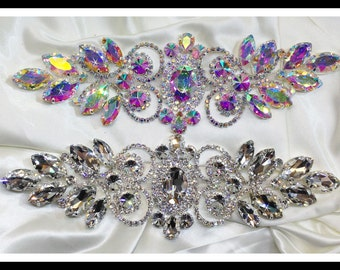 Vintage inspired rhinestone applique/ Bridal Applique/ sash applique/ quinceanera applique  (Clear, AB) ** Swarovski shine #0155