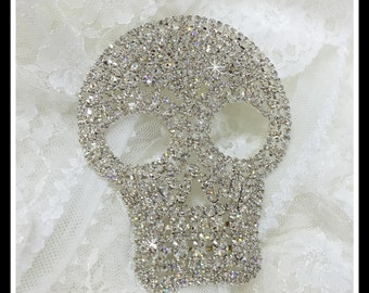 Rhinestone Skull Applique/ Skeleton Applique/ Halloween craft #0184