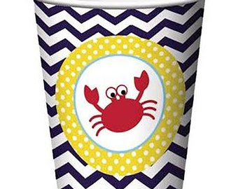 Nautical, Paper Cups, Party Cups, Nautical Baby Shower, Ahoy its a boy, Nautical Party, Nautical Birthday, Sailor Party, Crab, Anchor, Beach