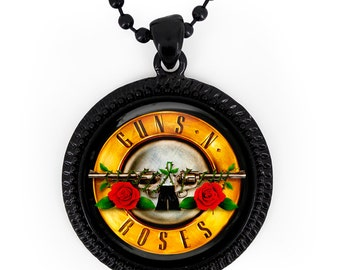Jet Black Guns and Roses Glass Pendant Necklace 180-JBRN