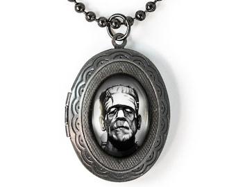 Gunmetal Gothic Frankenstein Horror Icon Keepsake Halloween Locket Necklace 88-GMLN