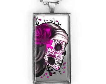 Silver Traditional Dia De Los Muertos Pink Sugar Skull Girl Rectangle Glass Pendant Necklace 7-SRCN
