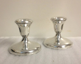 Vintage Set of Weighted Sterling Silver Candlesticks
