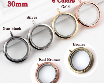 30mm Round Floating Glass Locket ,Magnet Closure Locket , Floating Locket Necklace Pendant ,Shadow Box Locket , Silver/Red Bronze 6 colors