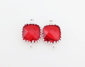 G000107C/Garnet/Rhodium plated over brass/Tooth Framed square faceted glass connector/9mm x 13.4mm/2pcs