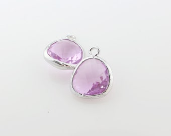 G001012P/Lavender/Rhodium plated over brass/Asymmetrical framed glass pendant/13mm x 15.8mm/2pcs