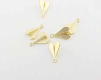 P0023/Anti-Tarnished Matt Gold plating over Brass/Origami airplane pendant/13x9mm/4pcs