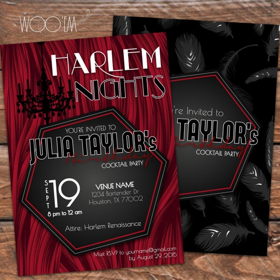 Harlem Nights Themed Birthday Invitation Printable DIY