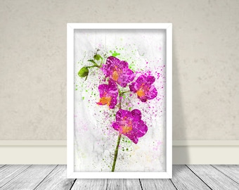 Orchid Watercolor, Pink Orchid, Magenta Orchid, Botanical Art, Flowers Art, Watercolor flower, Printable, Orchid Art, Watercolor Art