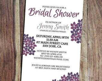Hydrangea Bridal Shower or Wedding Invitation