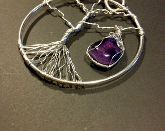 Amethyst and Silver Wire Pendant, 'Tree of Life'