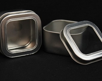 Square Tin with Window - Four (4) Fluid Ounce Size