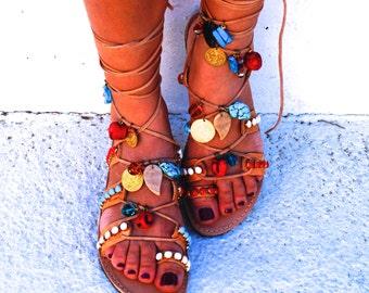 Tie Up Gladiator ethnic sandals decorated with Semiprecious stones