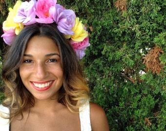 Valentines Day/Pastel Goddess Flower Crown/Wedding/Bridal/Flower Girl/Bohemian/Gypsy/Frida Kahlo/Day of the Dead/Easter/Festival/Headpiece