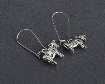 Dairy Cow Earrings, Western Country Dangle Earrings in Antique Silver