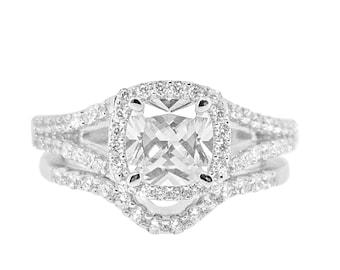 1.5 Carat Cushion Cut CZ Halo Engagement Rings Split Shank Cubic Zirconia Wedding Bridal Set Matching Sterling Silver Rhodium