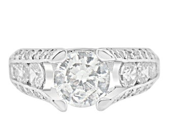 2 Carat CZ Engagement Ring - Cubic Zirconia with Sterling Silver Rhodium Wedding Channel Setting
