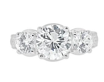 CZ Engagement Wedding Ring - Past Present Future 2.15 Carat Center Cubic Zirconia
