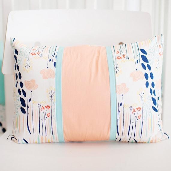 Peach And Aqua Bedroom: Peach Aqua & Navy Floral Nursery Throw By ThreeWishesBeddingCo