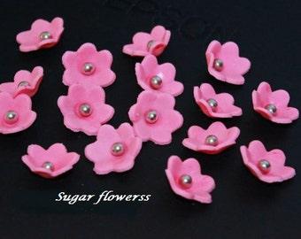 50 sugar flowers  fondant , gumpaste Edible Sugar flowers. birthday wedding Cake decoration, cupcake toppers or cake pops.... Any colour