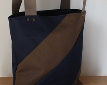 Waxed cotton tote bag / shopping bag