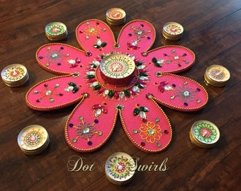 "Beautiful flower shape 12"" felt Rangoli set with decoretive candles/ wedding center piece/holiday decor/Christmas centerpiece"
