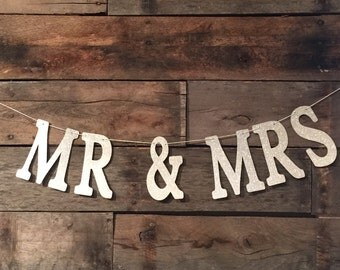 Silver Glitter Banner, Mr And Mrs Banner, Wedding Sign, Wedding Decor, Mr & Mrs.