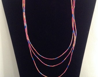 Necklace three strand fine bead red purple