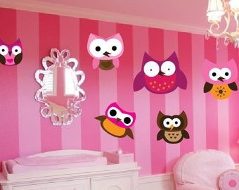 Set of 6 Cute Owl Wall Decals - Choose Your Own Size