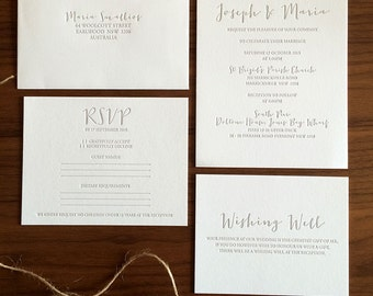 Maria - Letterpress Wedding Invitation - Generic Sample Only
