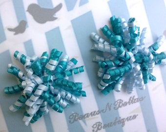 Mini Corkers - Turquoise and White Corker Hair Clip - Corker Barrette - Mini Corker Clippie - Korker Hair Bow -  Set of 2
