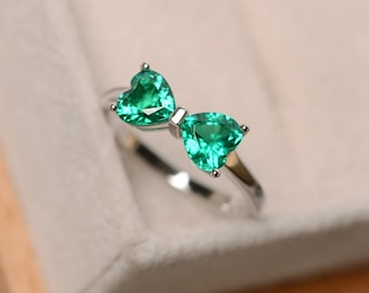 Emerald ring sterling silver, engagement ring, May birthstone, promise ring for her, multistone ring,hear cut emerald