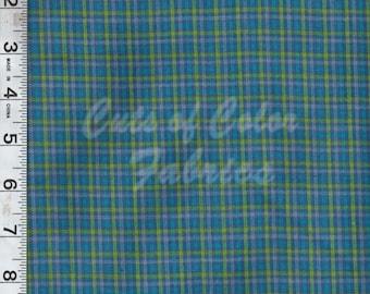 Bright blue yarn-dyed plaid fabrics by the yard